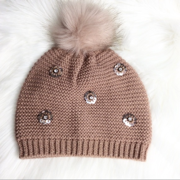 Express Accessories - Express Pom Pom sequin knit hat  68e96e4fb10